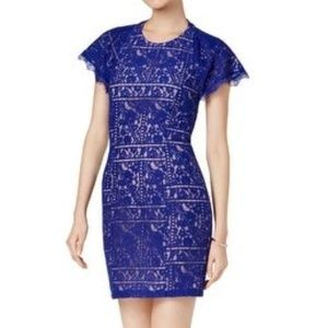 NWT Blue Floral Lace Open Back Cocktail Midi Dress